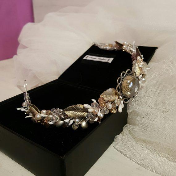 Tocado hoya de novia con cristales,perlas y hojas