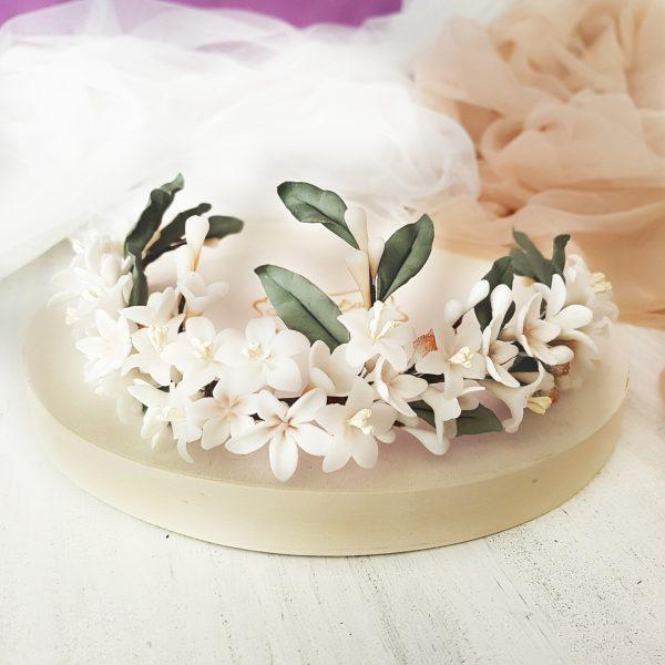 Media corona-tiara de azajar y hojas de olivo