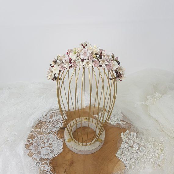 Tocado-Media corona de flores novia vintage